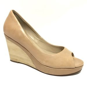Cole Haan Wedge 8.5 B Nude Distressed High Heel To